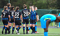 Brugge's players with Brugge's Celien Guns (right) pictured celebrating after scoring during a female soccer game between the women teams of Club Brugge YLA Dames and Union Saint-Ghislain Tertre-Hautrage Ladies on the 1/16 th qualifying round for the Belgian Womens Cup 2020  2021 , on saturday 26 th of September 2020  in Brugge , Belgium . PHOTO SPORTPIX.BE | SPP | DAVID CATRY