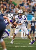 8 October 2016: Amherst College Purple & White Quarterback Nick Morales, a Sophomore from Seattle, WA, hands off to Running Back Hasani Figueroa, a Junior from Bronx, NY, during a game against the Middlebury College Panthers at Alumni Stadium in Middlebury, Vermont. The Panthers edged out the Purple & While 27-26. Mandatory Credit: Ed Wolfstein Photo *** RAW (NEF) Image File Available ***