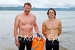Just out of the water after their swim from Derrymore to Fenit on Saturday morning. L to r: Niall Kenny and Darren Wall.