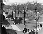 GPHR 45/0033:  Students walking on South Quad, view from an upper level in the Law School Building, c1950s..Image from the University of Notre Dame Archives.