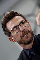 Calcio, Serie A: Roma, stadio Olimpico, 14 ottobre 2017.<br /> AS Roma's coach Eusebio Di Francesco waits for the start of the Italian Serie A football match between Roma and Napoli at Rome's Olympic stadium, October14, 2017.<br /> UPDATE IMAGES PRESS/Isabella Bonotto