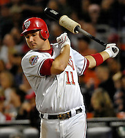 15 September 2007: Washington Nationals third baseman Ryan Zimmerman takes a practice swing in the on-deck circle during a game against the Atlanta Braves at Robert F. Kennedy Memorial Stadium in Washington, DC. The Nationals defeated the Braves 7-4 in the second game of their 3-game series...Mandatory Photo Credit: Ed Wolfstein Photo
