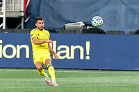 FOXBOROUGH, MA - OCTOBER 3: Daniel Lovitz #2 of Nashville SC passes the ball during a game between Nashville SC and New England Revolution at Gillette Stadium on October 3, 2020 in Foxborough, Massachusetts.
