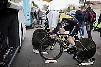 (eventual winner) Simon Yates (GBR/Mitchelton-Scott) warming up (incognito) for Stage 5 (ITT): Barbentane to Barbentane (25km)<br /> 77th Paris - Nice 2019 (2.UWT)<br /> <br /> ©kramon