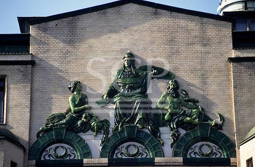 Belgrade, Serbia, Yugoslavia. Relief sculpture detail on an Art Deco building.