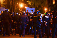 Washington, DC - June 1, 2020: Protesters and DC police gather at 15th & Swann St. NW, Washington, DC  June 1, 2020, in the wake of the death of George Floyd by a Minnesota police officer.  (Photo by Don Baxter/Media Images International)