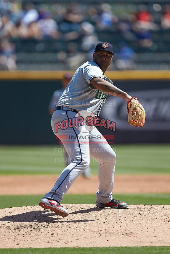 Gwinnett Stripers starting pitcher Luiz Gohara (52) in action against the Charlotte Knights at BB&T BallPark on May 2, 2018 in Charlotte, North Carolina.  The Knights defeated the Stripers 6-5.  (Brian Westerholt/Four Seam Images)