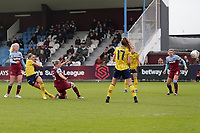Katie McCabe of Arsenal scores the first goal for her team during West Ham United Women vs Arsenal Women, Women's FA Cup Football at Rush Green Stadium on 26th January 2020