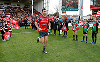 Photo: Richard Lane/Richard Lane Photography. Gloucester Rugby v Wasps. Gallagher Premiership. 23/03/2019. Gloucester's Mark Atkinson runs out for his 100th club appearance.