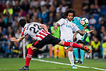 Marcelo Vieira Da Silva (R) of Real Madrid fights for the ball with Raul Garcia Escudero of Athletic Club de Bilbao during the La Liga 2017-18 match between Real Madrid and Athletic Club Bilbao at Estadio Santiago Bernabeu on April 18 2018 in Madrid, Spain. Photo by Diego Souto / Power Sport Images