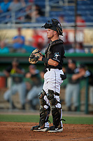 Batavia Muckdogs Keegan Fish (7) during a NY-Penn League game against the West Virginia Black Bears on June 27, 2019 at Dwyer Stadium in Batavia, New York.  West Virginia defeated Batavia 6-5 in ten innings.  (Mike Janes/Four Seam Images)