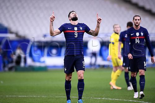 17th November 2020; Stade de France, Paris,  France; UEFA National League international football, France versus Sweden;   OLIVIER GIROUD (FRA) celebrates his goal for 1-1 in the 16th minute