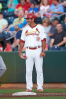 Springfield Cardinals hitting coach Erik Pappas (12) during a game against the Frisco RoughRiders  on June 4, 2015 at Hammons Field in Springfield, Missouri.  Frisco defeated Springfield 8-7.  (Mike Janes/Four Seam Images)