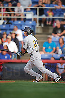 Trenton Thunder designated hitter Tyler Wade (22) at bat during a game against the Binghamton Mets on August 8, 2015 at NYSEG Stadium in Binghamton, New York.  Trenton defeated Binghamton 4-2.  (Mike Janes/Four Seam Images)
