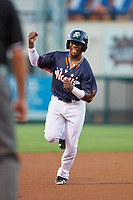 Daytona Tortugas Shed Long Jr. (15) celebrates as he rounds the bases on a Gavin LaValley (not shown) home run during the Florida State League All-Star Game on June 17, 2017 at Joker Marchant Stadium in Lakeland, Florida.  FSL North All-Stars defeated the FSL South All-Stars  5-2.  (Mike Janes/Four Seam Images)