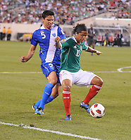 Mexico Giovani Dos Santos (10) shields the ball against Gatemala Carlos Gallardo (5)  Mexico defeated Guatemala 2-1 in the quaterfinals for the 2011 CONCACAF Gold Cup , at the New Meadowlands Stadium, Saturday June 18, 2011.