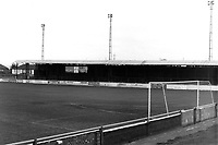 Covered terracing at Dartford FC, Watling Street, Dartford, Kent, pictured on 30 March 1986