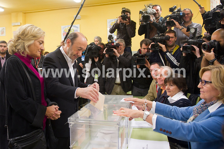 **ALL ROUND PICTURES FROM SOLARPIX.COM**                                             **WORLDWIDE SYNDICATION RIGHTS EXCEPT SPAIN - NO SYNDICATION IN SPAIN**                                                                                  20/11/2011/ San Pio X School. Majadahonda. Madrid. Spain. General elections.  The PSOE candidate, Alfredo Rubalcaba casts his vote in the elections for a new Spanish prime minister.                                                                            This pic:    The PSOE candidate, Alfredo Rubalcaba                                                                                          JOB REF:   14212     DMS Dolores      DATE:  20.11.11                                                          **MUST CREDIT SOLARPIX.COM OR DOUBLE FEE WILL BE CHARGED**                                                                      **MUST AGREE FEE BEFORE ONLINE USAGE**                               **CALL US ON: +34 952 811 768 or LOW RATE FROM UK 0844 617 7637**