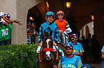 """DEL MAR, CA  AUGUST 21:#5 Masteroffoxhounds, ridden by Kent Desormeaux, in the post parade of the Del Mar Handicap (Grade ll) Breeders Cup """"Win and You're In"""" Turf Division on August 21, 2021 at Del Mar Thoroughbred Club in Del Mar, CA  (Photo by Casey Phillips/Eclipse Sportswire/CSM)"""