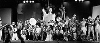 1982  File Photo - Guy Laliberte, Daniel Gauthier and the  Club des Talons Hauts who will evolve into the Cirque du Soleil, at the Convention of public entertainers and circus troups