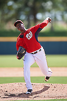 Washington Nationals pitcher McKenzie Mills (62) during an Instructional League game against the Atlanta Braves on September 30, 2016 at Space Coast Stadium in Melbourne, Florida.  (Mike Janes/Four Seam Images)
