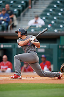 Lehigh Valley IronPigs third baseman Damek Tomscha (47) follows through on a swing during a game against the Buffalo Bisons on June 23, 2018 at Coca-Cola Field in Buffalo, New York.  Lehigh Valley defeated Buffalo 4-1.  (Mike Janes/Four Seam Images)