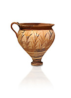 Minoan decorated cup with foliage, Archanes Palace  1600-1450 BC; Heraklion Archaeological  Museum, white background.