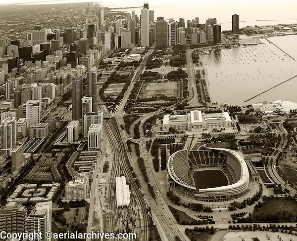 aerial photograph Soldier Field, Museum Park, Chicago, Illinois