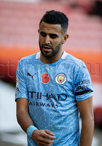 31st October 2020; Bramall Lane, Sheffield, Yorkshire, England; English Premier League Football, Sheffield United versus Manchester City; Riyad Mahrez of Manchester City
