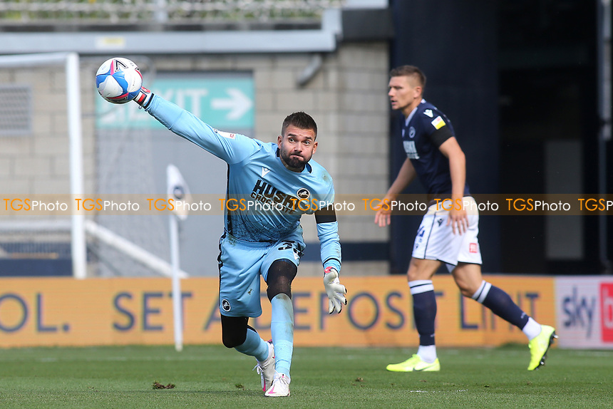 Millwall goalkeeper, Bartosz Bialkowski throws the ball out to a teammate during Millwall vs Stoke City, Sky Bet EFL Championship Football at The Den on 12th September 2020
