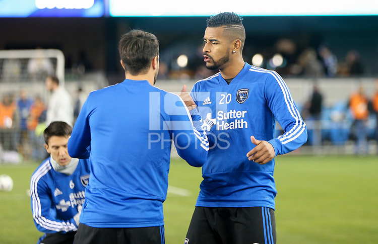 San Jose, CA - Saturday March 03, 2018: Aníbal Godoy during a 2018 Major League Soccer (MLS) match between the San Jose Earthquakes and Minnesota United FC at Avaya Stadium.
