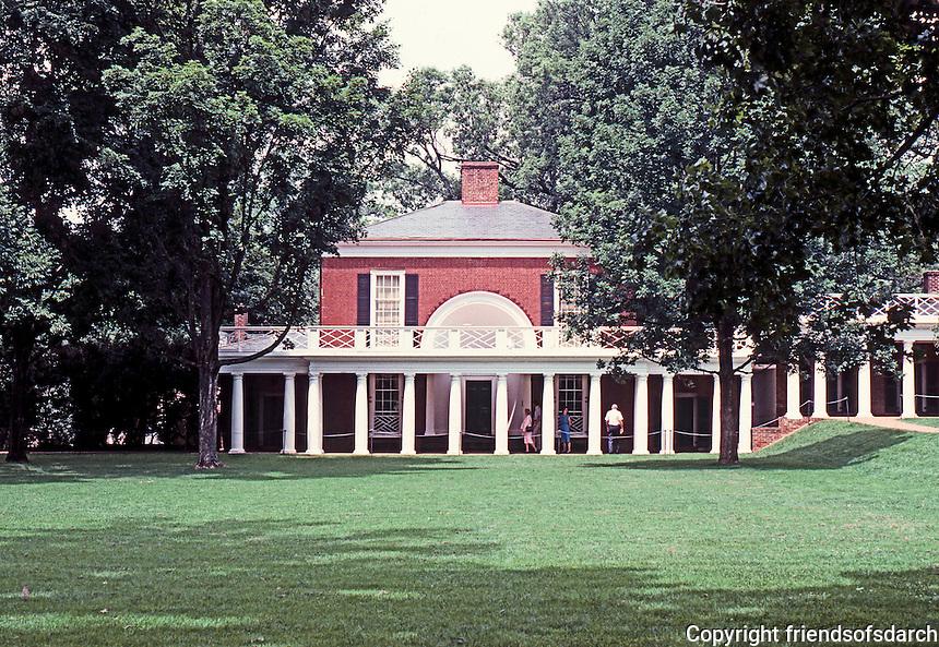 Thomas Jefferson: University of Virginia--view across lawn to Pavilion.  Photo '85.