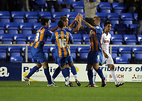 Pictured: Nicky Wroe of Shrewsbury (3rd L) celebrating his goal with team mates. Tuesday 23 August 2011<br /> Re: Carling Cup Shrewsbury Town FC v Swansea City FC at the Greenhous Meadow ground, Shropshire.