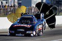 Sept. 4, 2010; Clermont, IN, USA; NHRA funny car driver Brian Thiel during qualifying for the U.S. Nationals at O'Reilly Raceway Park at Indianapolis. Mandatory Credit: Mark J. Rebilas-