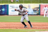 Montgomery Biscuits second baseman Jake Palomaki (3) gets his lead off first base during the game against the Tennessee Smokies on May 9, 2021, at Smokies Stadium in Kodak, Tennessee. (Danny Parker/Four Seam Images)