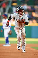 Norfolk Tides third baseman Ozzie Martinez (1) running the bases during a game against the Buffalo Bisons on July 18, 2016 at Coca-Cola Field in Buffalo, New York.  Norfolk defeated Buffalo 11-8.  (Mike Janes/Four Seam Images)