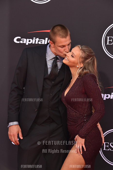 LOS ANGELES, USA. July 10, 2019: Camille Kostek & Rob Gronkowski at the 2019 ESPY Awards at the Microsoft Theatre LA Live.<br /> Picture: Paul Smith/Featureflash