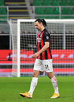 Football Soccer: Tim Cup Quarter Finals InternazionaleMIlan vs Milan, Giuseppe Meazza Stadium (San Siro) Milan, on January 26, 2021.<br /> Milan's Zlatan Ibrahimovic  leaves the pitch after being sent off during the Italian Tim Cup football match between Inter  and Milan at the Giuseppe Meazza stadium in Milan, January 26, 2021.<br /> UPDATE IMAGES PRESS/Isabella Bonotto