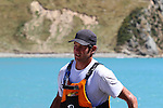 Dan Busch, 2nd in Open Mens, nears the finish line. 2012 SI Surf Ski Championships: Tahunanui to Cable Bay.<br /> Photo: Marc Palmano/Shuttersport