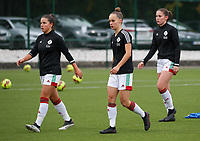 (Left to right) Luna Vanzeir of OHL (10) and Marith De Bondt of OHL (31)  during the warm up before a female soccer game between Oud Heverlee Leuven and Femina White Star Woluwe  on the 5 th matchday of the 2020 - 2021 season of Belgian Womens Super League , Sunday 18 th of October 2020  in Heverlee , Belgium . PHOTO SPORTPIX.BE   SPP   SEVIL OKTEM