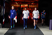 HOUSTON, TX - JUNE 13: Jane Campbell  #18, Adrianna Franch #21 and Alyssa Naeher #1 of the United States exit the tunnel to warm up before a game between Jamaica and USWNT at BBVA Stadium on June 13, 2021 in Houston, Texas.
