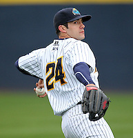 Trenton Thunder outfielder Austin Krum #24 during a game against the Portland Sea Dogs at Waterfront Park on May 4, 2011 in Trenton, New Jersey.  Trenton defeated Portland by the score of 7-1.  Photo By Mike Janes/Four Seam Images