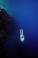 Steinar Schjager (Norway) freediving in a spot called The Bells near Blue Hole, Dahab,Sinai in Egypt. © Fredrik Naumann/Felix Features