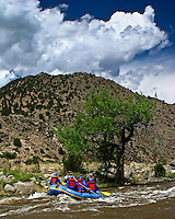 High in the Colorado Rockies the Arkansas River is born, then flows through rocky canyons giving rafters the experience of a lifetime.  This is one of the calmer moments - a chance to enjoy the view.