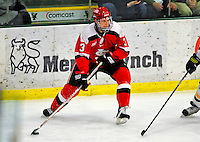 3 January 2009: St. Lawrence Saints' defenseman Zach Miskovic, a Senior from River Forest, IL, in action against the University of Vermont Catamounts during the championship game of the Catamount Cup Ice Hockey Tournament at Gutterson Fieldhouse in Burlington, Vermont. The Cats defeated the Saints 4-0 and won the tournament for the second time since its inception in 2005...Mandatory Photo Credit: Ed Wolfstein Photo