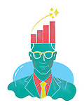Illustrative image of businessman with graph on head representing growth