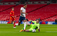 8th Occtober 2020, Wembley Stadium, London, England;  Englands Dominic Calvert-Lewin tries to go around Wales goalkeeper Wayne Hennessey during a friendly match between England and Wales in London