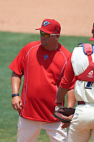 Clearwater Threshers pitching coach Aaron Fultz (61) during a game against the Daytona Tortugas on April 20, 2016 at Bright House Field in Clearwater, Florida.  Clearwater defeated Daytona 4-2.  (Mike Janes/Four Seam Images)