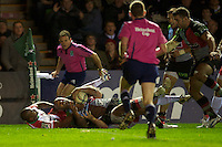 Jordan Turner-Hall of Harlequins rolls over to score a try during the Heineken Cup match between Harlequins and Biarritz Olympique Pays Basque at the Twickenham Stoop on Saturday 13th October 2012 (Photo by Rob Munro)