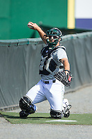 Lynchburg Hillcats catcher Eric Haase (13) catches a bullpen session prior to the game against the Frederick Keys at Calvin Falwell Field at Lynchburg City Stadium on May 14, 2015 in Lynchburg, Virginia.  The Hillcats defeated the Keys 6-3.  (Brian Westerholt/Four Seam Images)
